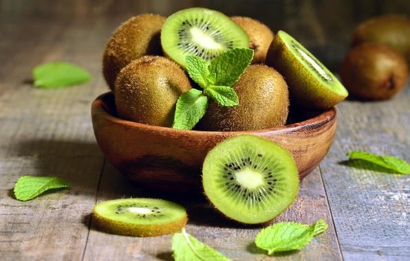 Picture kiwi, plate, fruit, mint