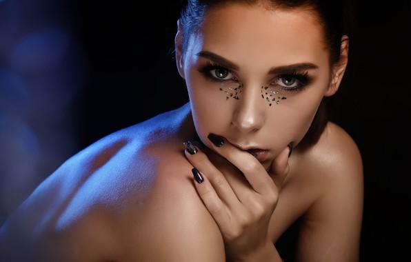 Picture look, girl, face, hand, portrait, makeup, sequins, manicure, Ksenia Smirnova