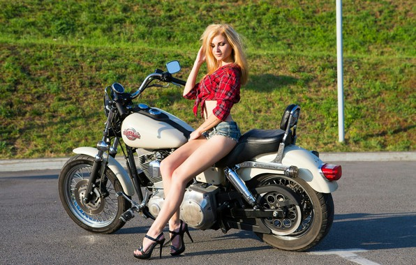 Picture asphalt, the sun, shorts, makeup, figure, slim, hairstyle, blonde, motorcycle, shoes, shirt, bike, legs, sexy