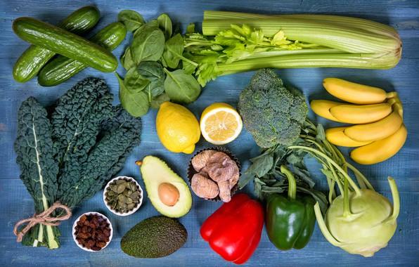 Picture leaves, bananas, pepper, fruit, vegetables, cabbage, lemons, cucumbers, raisins, avocado