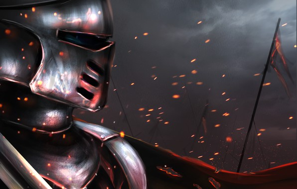 Picture fire, war, sword, armor, flag, warrior, helmet, armor, battle, knight, mail, digital, painting, the battlefield, …