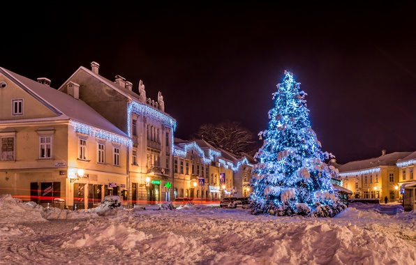 Picture Home, Winter, Night, The city, Snow, New Year, Street, Tree, Croatia, Garland, Zagreb Samobor