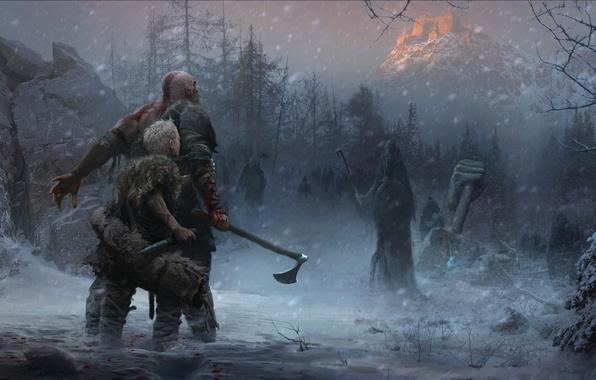 Picture axe, game, Sony, Kratos, God of War, snow, knife, Loki, god, god slayer, Atreus