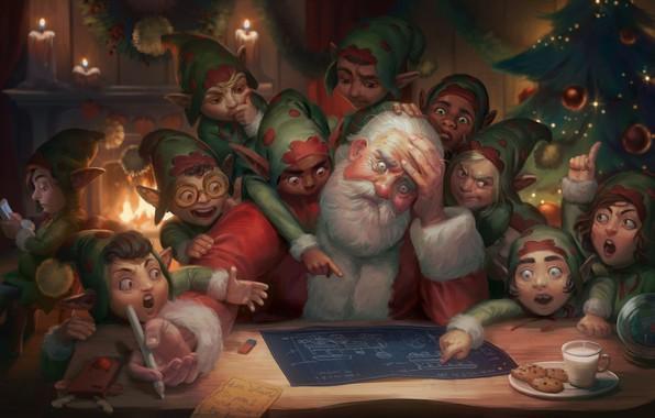 Picture plan, art, elves, fireplace, Santa Claus, herringbone, drawing, Illustration, Dear Satan: Merry Christmas and Happy …