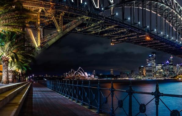 Wallpaper sydney theatre opera night bridge australia - Paisajes de australia ...