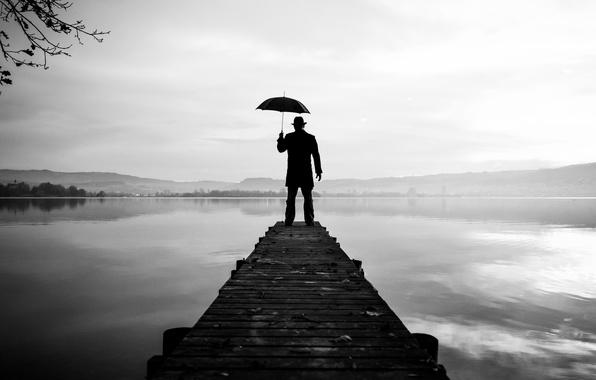 Picture umbrella, lake, man, pier