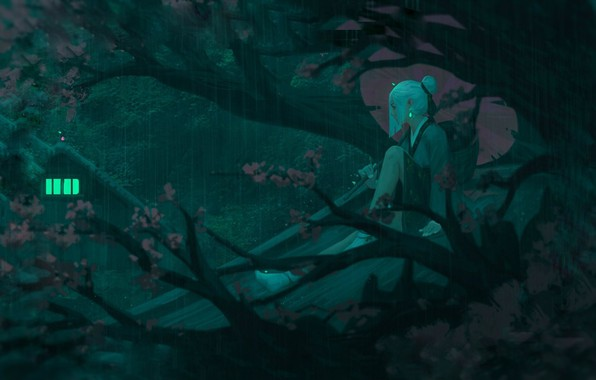 Picture girl, night, branches, umbrella, Japan, Sakura, art, the light in the window, on the roof, …