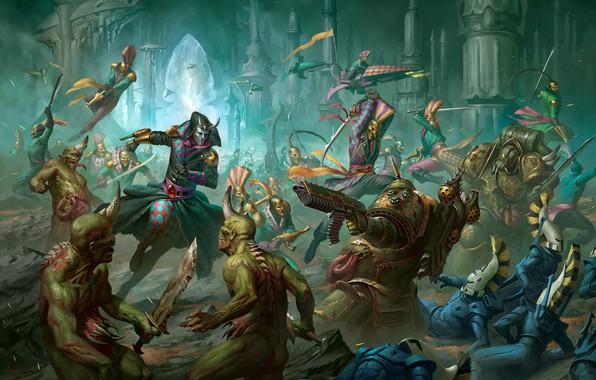 Picture chaos, eldar, battle, demons, Warhammer 40 000, Death Guard, Nurgle, chaos space marines, harlequins