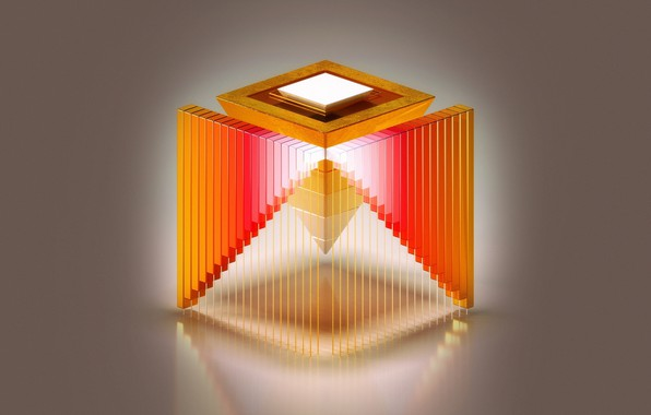 Picture abstraction, paint, design, pyramid, cube, the volume