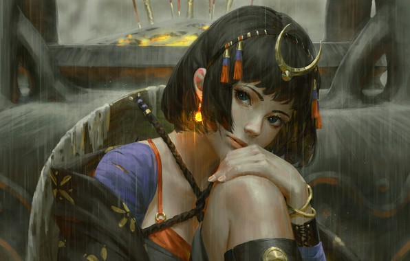 Picture girl, rendering, fantasy, art, priestess, history, Sit, Z. W. Gu