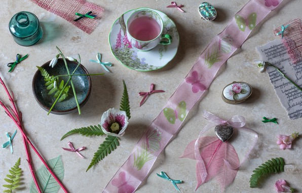 Picture leaves, flowers, branches, style, snowdrops, mug, tape, Cup, bows, bubble, hellebore