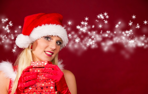 Picture snowflakes, background, holiday, hat, new year, Christmas, makeup, hairstyle, blonde, gifts, gloves, maiden, in red, …