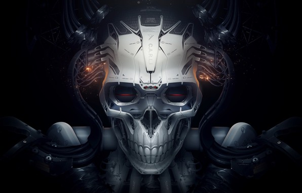 Picture white, robot, Skull, spark, black