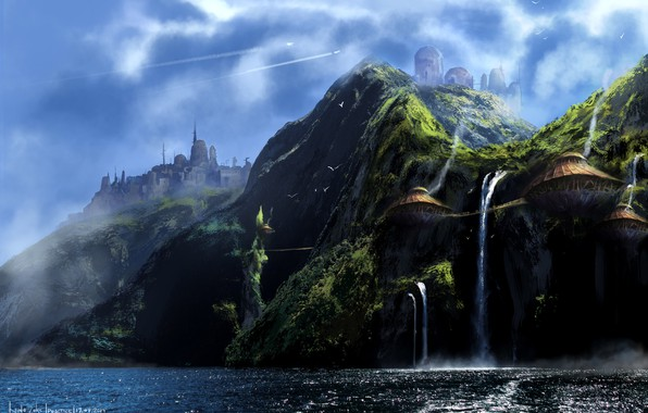Picture mountains, shore, waterfall, structure, Lost Island, skull-waterfall