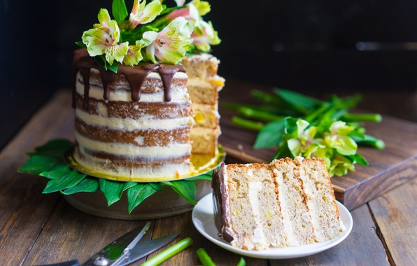 Picture flowers, cake, layers