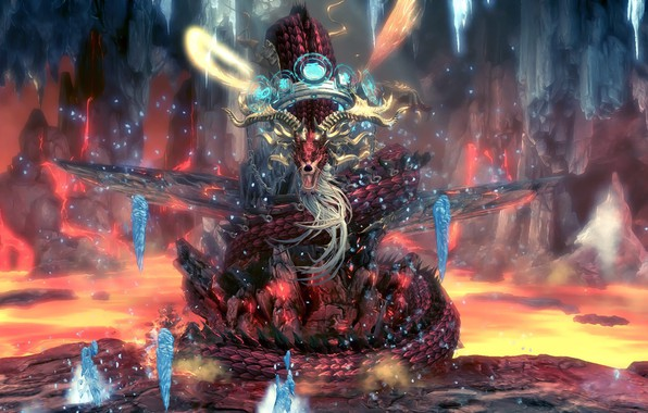 Picture dragon, icicles, lava, epic, Blade & Soul, dungeon