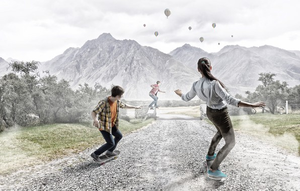 Picture road, the sky, girl, landscape, mountains, balloons, photoshop, guys, the bushes, skateboards, skateboard