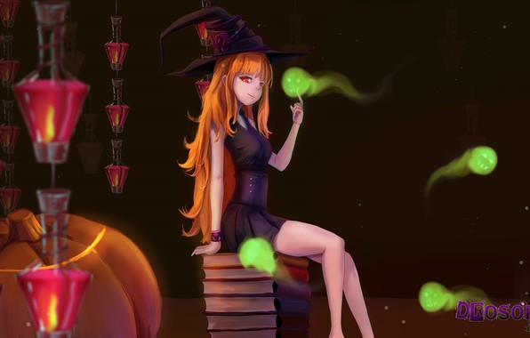Picture books, perfume, lights, pumpkin, red, ghosts, sitting, red eyes, art, witch, in the dark, witch …