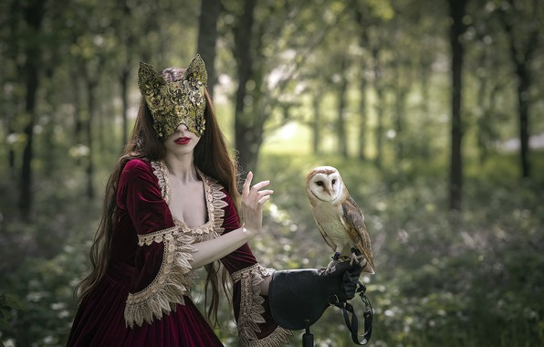 Picture girl, owl, mask
