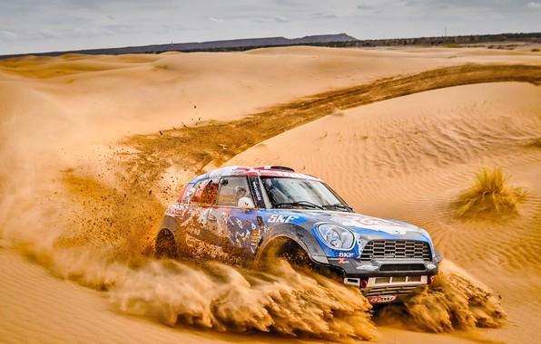 Photo wallpaper Sand, Mini, Sport, Desert, Speed, Race, Heat, Rally, Rally, Dune, Raid, MINI Cooper, X-Raid