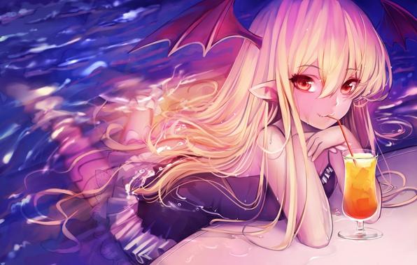 Picture wet, long hair, girls, anime, red eyes, blonde, drink, elves, wet clothing, tahnya