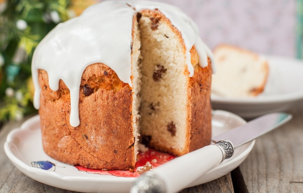 Picture Easter, cake, glaze, raisins