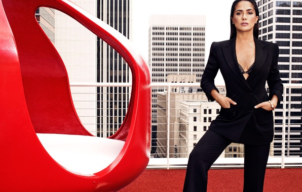 Picture roof, model, home, makeup, figure, actress, brunette, hairstyle, costume, Salma Hayek, Salma Hayek, beautiful, jacket, …