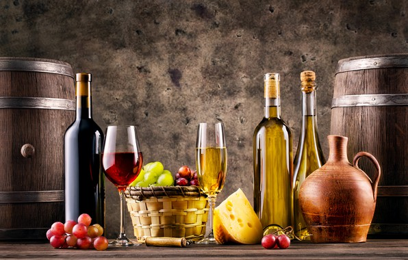 Photo wallpaper grapes, wine, bottle, cheese