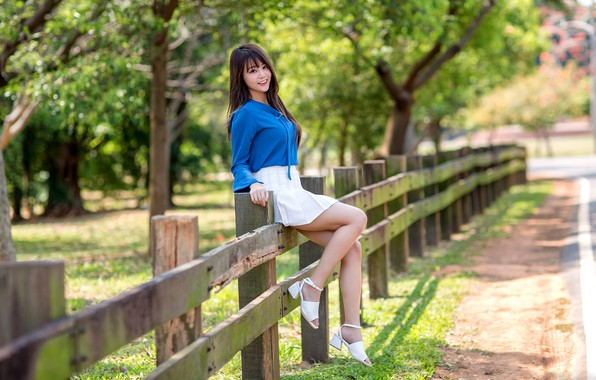 Picture girl, the fence, legs, Asian, cutie, bokeh