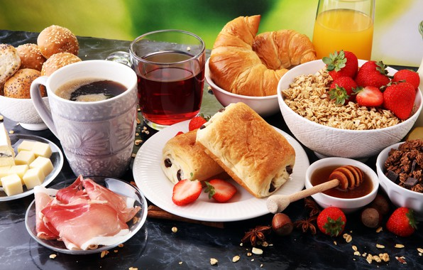 Picture berries, tea, coffee, Breakfast, cheese, juice, bacon, buns, croissants, oatmeal