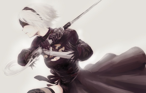 Picture girl, sword, white, game, black, android, dress, art, katana, square enix, nier, bandage, ps4, tape, …