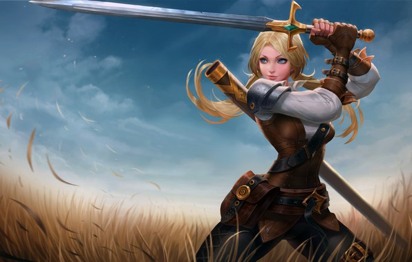 Picture girl, sword, fantasy, field, weapon, Warrior, blue eyes, blonde, digital art, artwork, fantasy art