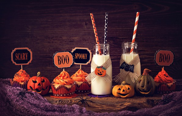 Picture milk, Halloween, pumpkin, Halloween, holidays, cakes, sweet, cupcake, cupcakes, milk, pumpkin