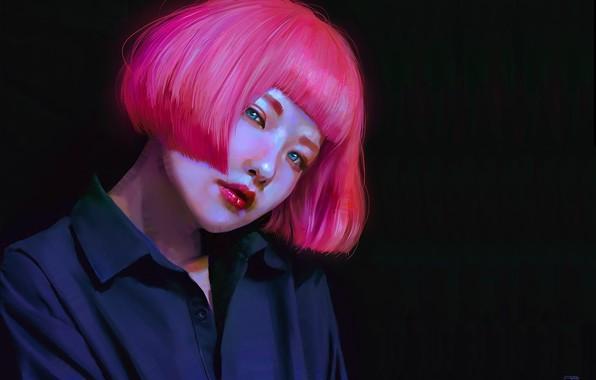 Picture face, the dark background, haircut, sponge, Asian, art, bangs, portrait of a girl, black shirt, …