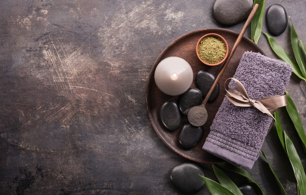 Picture stones, towel, Candle, Spa