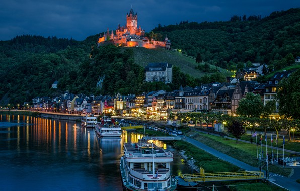 Photo wallpaper Cochem, Cochem, river, The River Moselle, Moselle River, Cochem Castle, Cochem Castle, Rhineland-Palatinate, castle, night ...