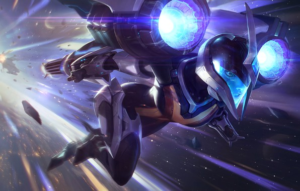 Picture Girl, Stars, The game, Girl, Costume, Helmet, Stars, Game, League of legends, LoL, Flies, League …