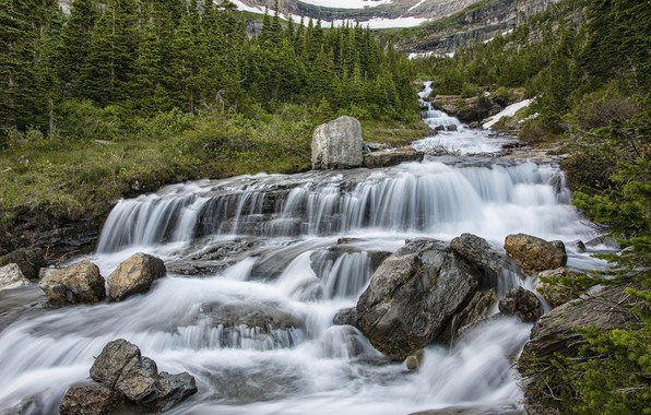 Picture nature, waterfall, stream