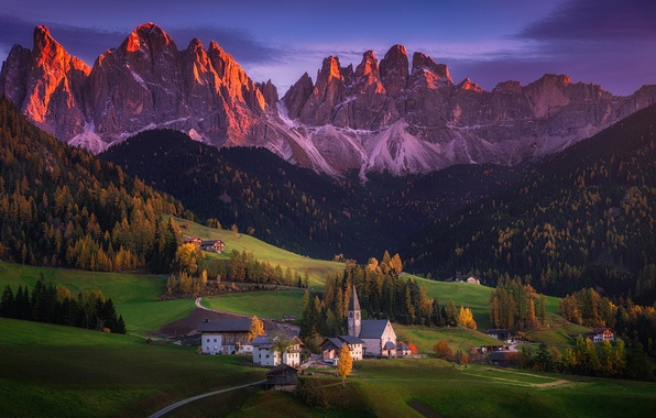 Picture autumn, mountains, home, valley, Alps, Italy