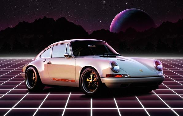Picture Mountains, White, Porsche, Neon, Retro, Planet, Space, Machine, Porsche 911, 1980, Retro, Synthpop, Darkwave, Synth, …