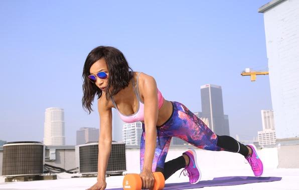 Photo wallpaper fitness, Workout, female, dumbells, sunglasses