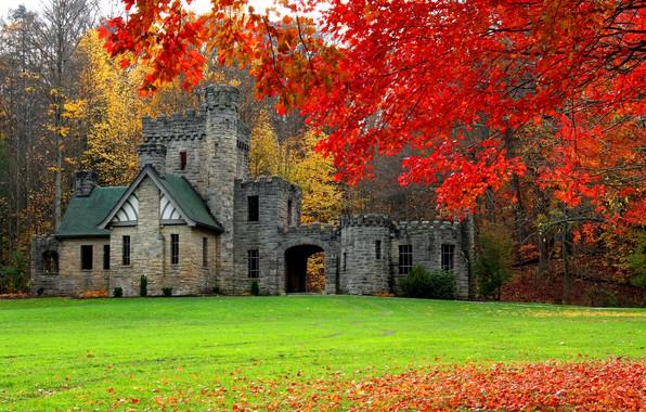 Picture autumn, forest, castle, USA, Cleveland, Squire's Castle