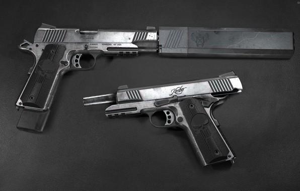 Picture gun, weapons, gun, weapon, custom, muffler, custom, M1911, M1911 pistol, Kimber, silencer, Kimber, 3D Wren, …