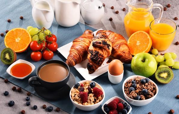 Picture coffee, Breakfast, milk, juice, pitcher, croissants, muesli, orange