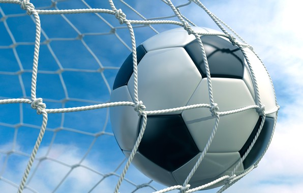 Picture the sky, clouds, background, mesh, football, the ball, gate, goal