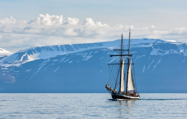 Picture sea, the sky, clouds, mountains, sailboat, Iceland, Iceland, Húsavik