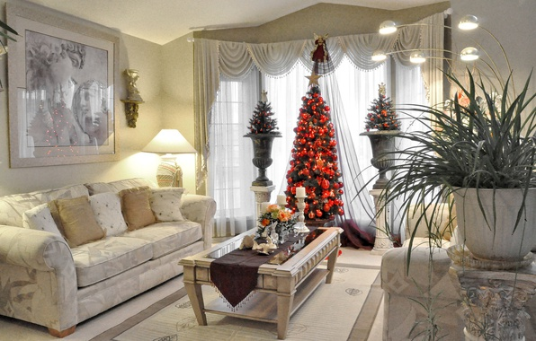Photo wallpaper Christmas, tree, living room, lamp, table, holiday, New Year, picture, sofa, vase