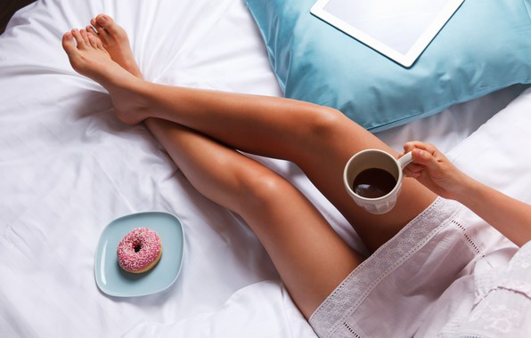 Picture legs, bed, coffee, breakfast