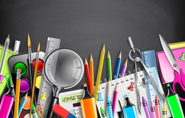 Picture paper, paint, vector, pencils, handle, magnifier, scissors, line, brush, the compass, clip, markers, the office, …