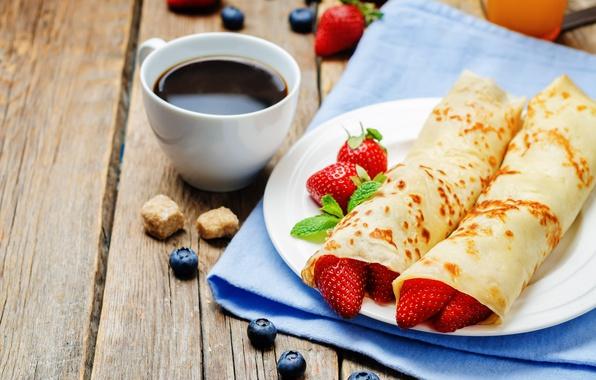 Picture berries, coffee, Breakfast, blueberries, strawberry, pancakes, pancakes